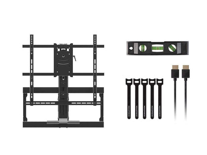 Monoprice Above Fireplace Pull-Down Full-Motion Articulating TV Wall Mount w/ Optional Soundbar Mount - Rotating, Height Adjustable