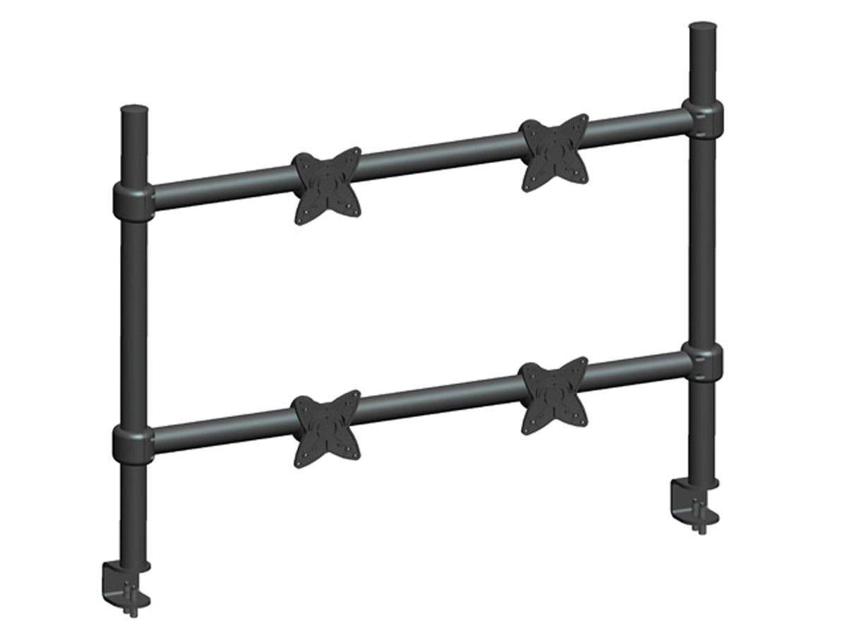 Adjustable Tilting QUAD Desk Mount Bracket for 10~23in Monitors up to 33 lbs  Black by Monoprice