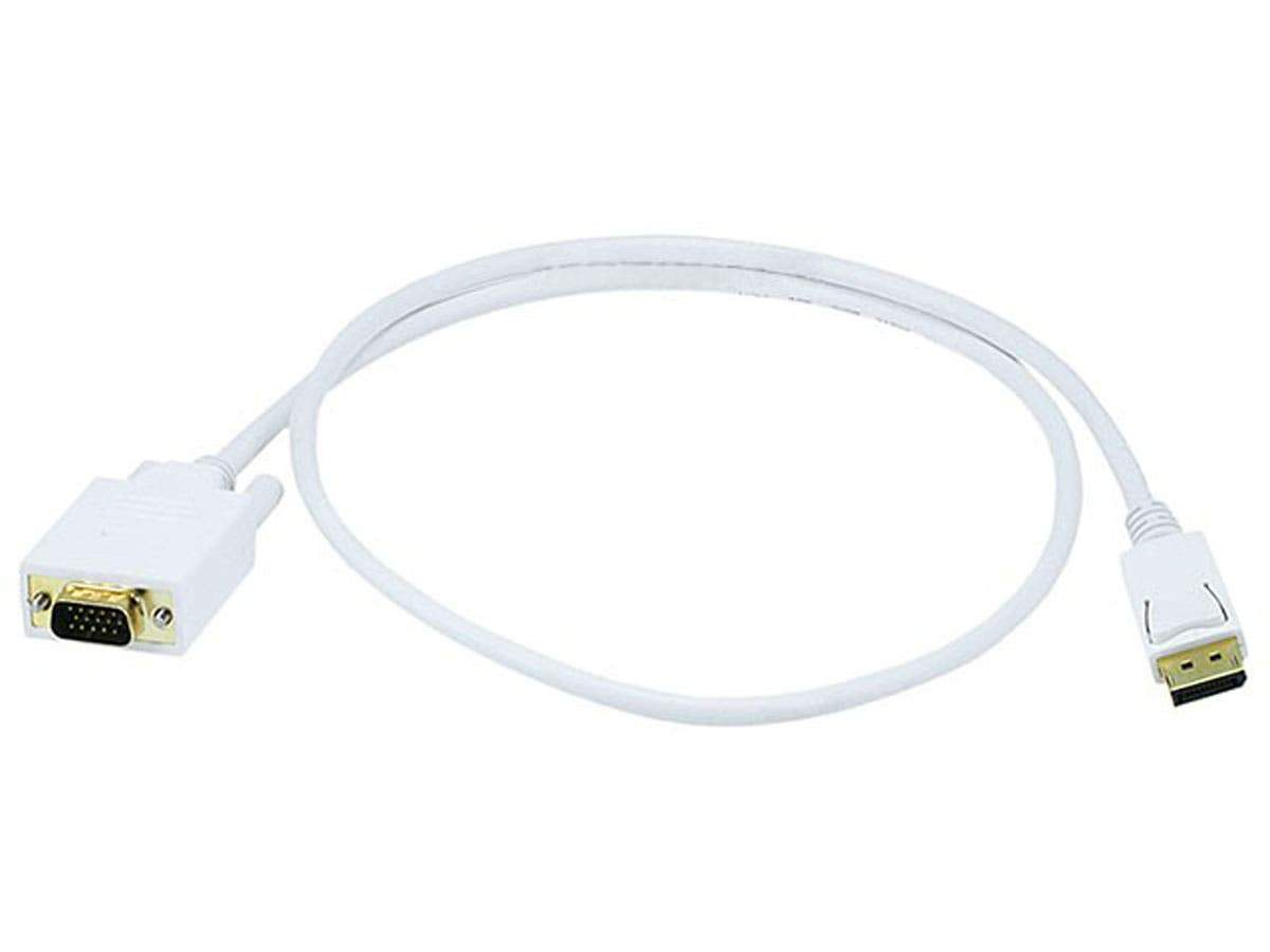 Monoprice 28AWG DisplayPort to VGA Cable, White