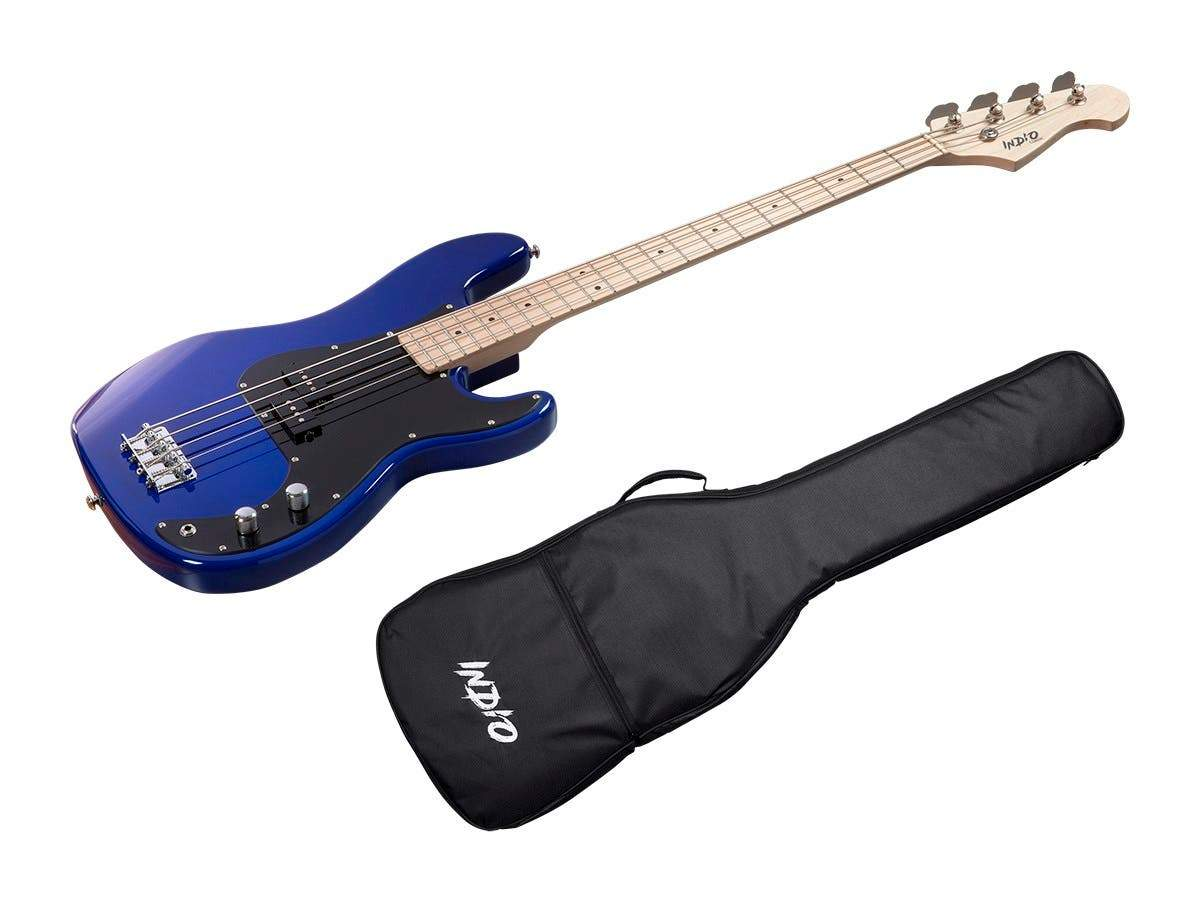 Indio by Monoprice Pubb Bass with Gig Bag, Blue