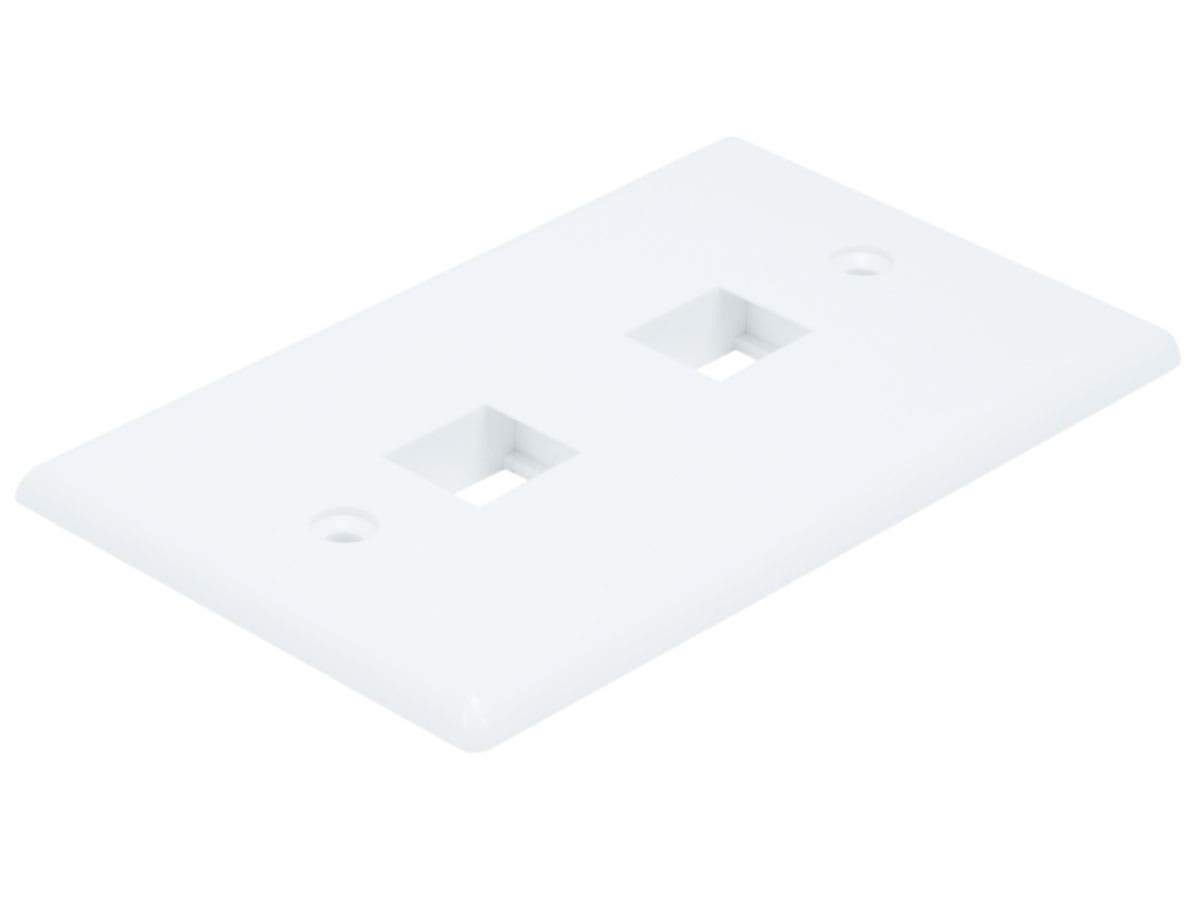 Monoprice Wall Plate for Keystone, 2 Hole - White