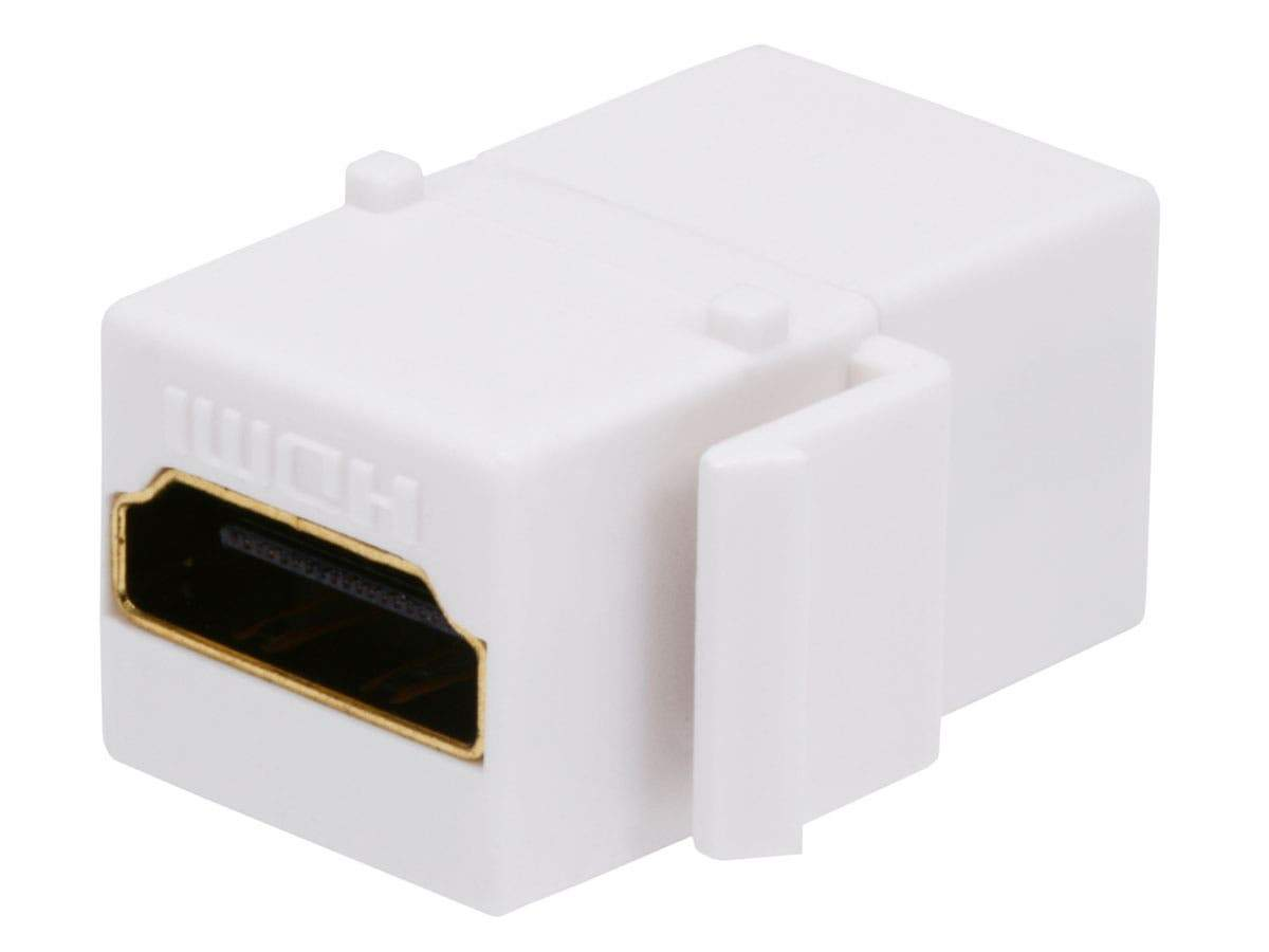 Monoprice Keystone Jack HDMI Female to Female Coupler Adapter - White |  Gold-Plated Female Connector