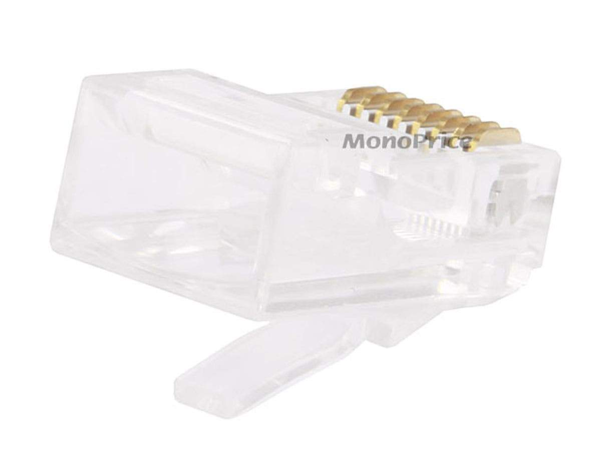 Monoprice 8P8C RJ45 Modular Plugs For Stranded Cat5/Cat5e Ethernet Cable (100pcs/pack) Gold Plated Contacts, Clear Plastic Housing