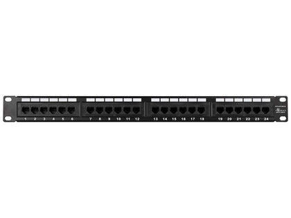 Monoprice 24-Port Cat6 Patch Panel, 110 Type (568A/B Compatible) Black Painted Steel Panel, UL Listed  Main Image