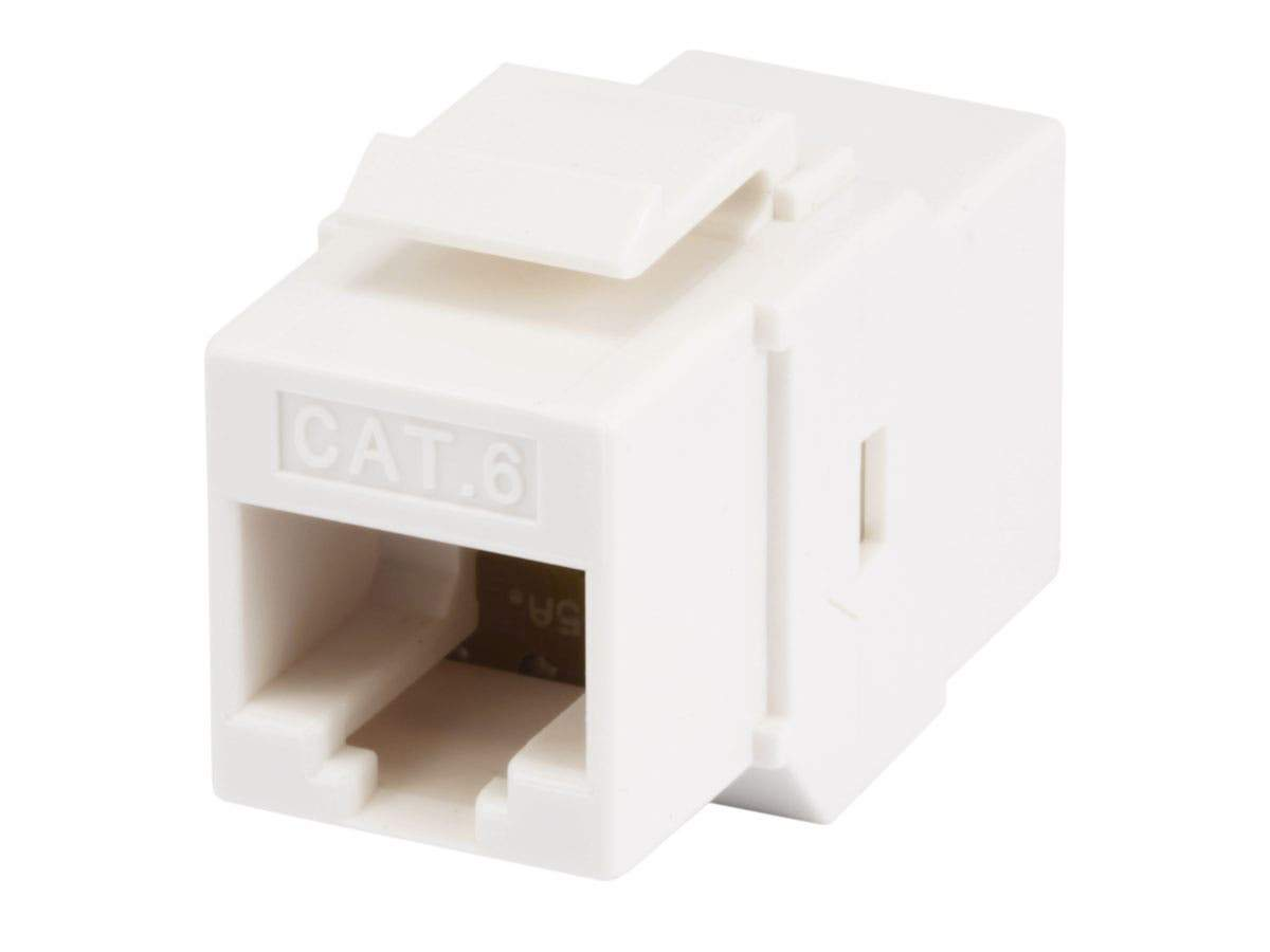 Monoprice 8P8C RJ45 Cat6 Inline Coupler Type Keystone Jack - White, Fits All Standard Keystone Wall Plates And Panels