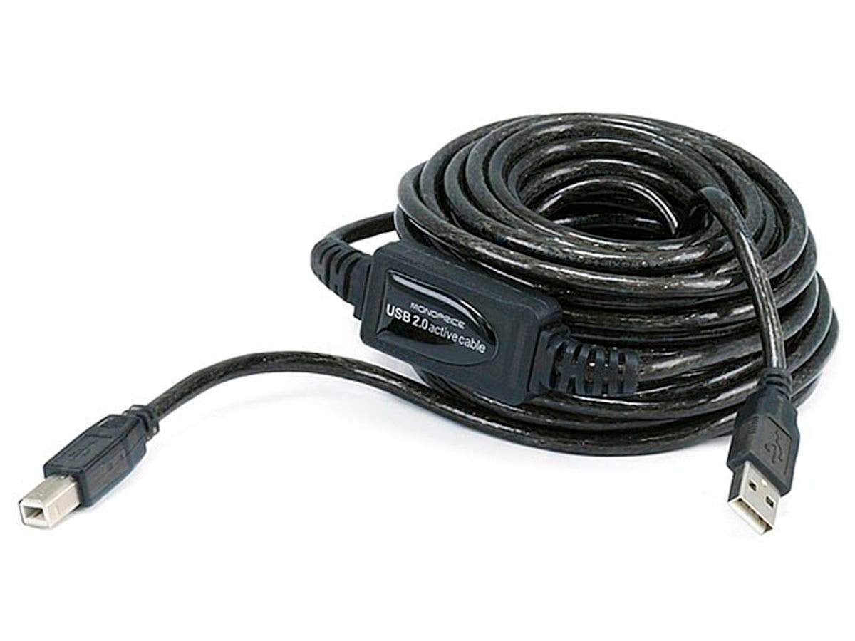 Monoprice USB-A to USB-B 2.0 Cable - Active  28/24AWG  Black