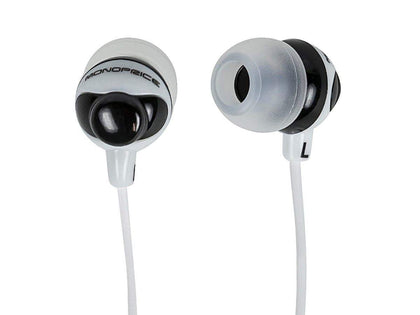 Monoprice Button Design Noise Isolating Earbuds Headphones - Black & White Main Image