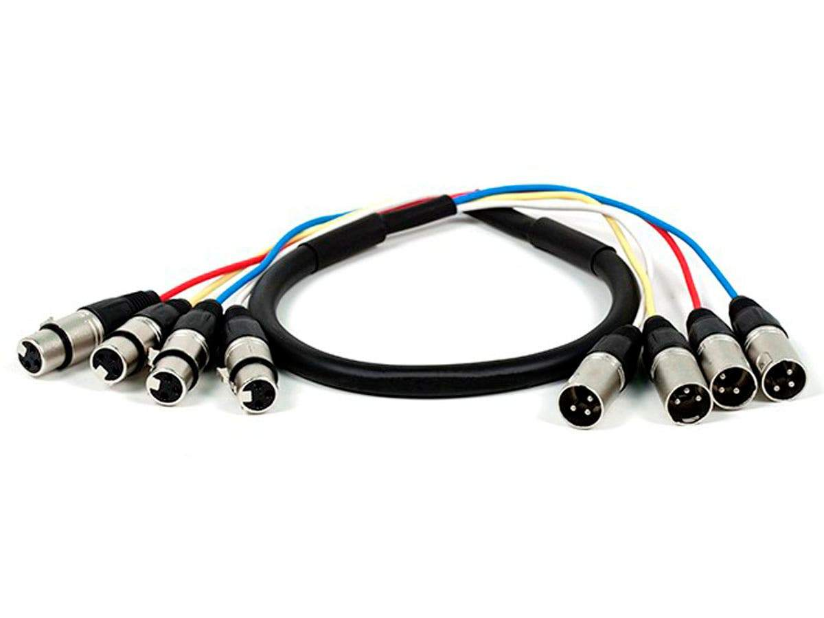 Monoprice 0,9 m (3 ft) 4-Channel XLR Male to XLR Female Snake Cable