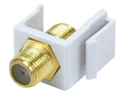 Monoprice Keystone Jack - Modular F Type (White) - (No Logo) For Use With Keystone Panels Or Wall Plates Main Image