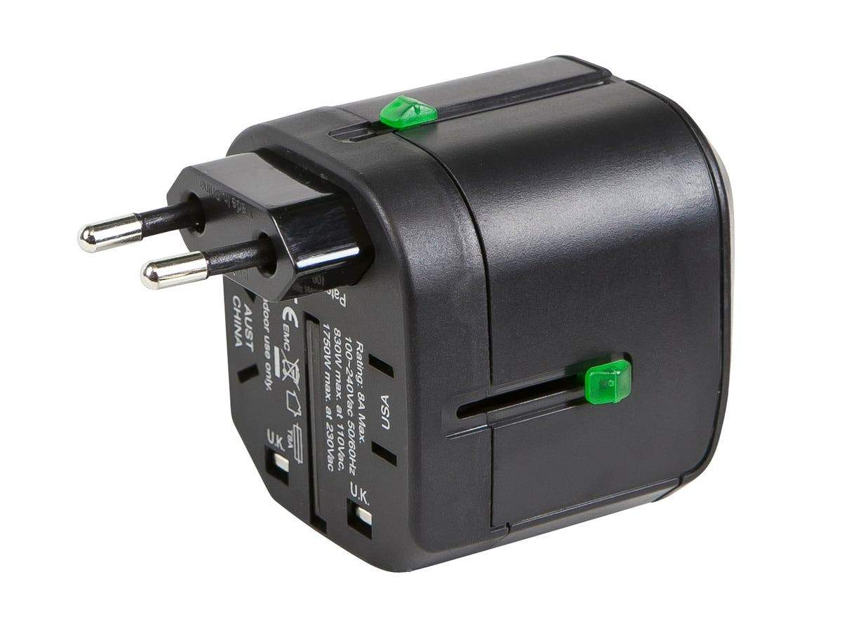 Compact Cube Universal Travel Adapter - Black by Monoprice