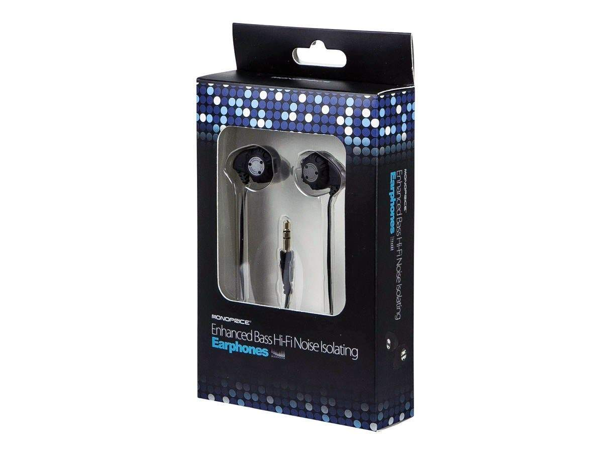 Enhanced Bass Hi-Fi Noise Isolating Earbuds Headphones - Black by Monoprice
