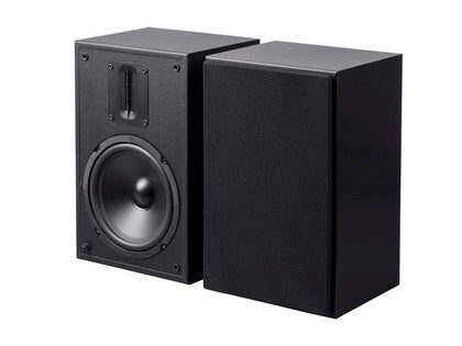 Monoprice MP-65RT 6.5in and Ribbon Tweeter 2-Way Bookshelf Speakers (Pair), Black