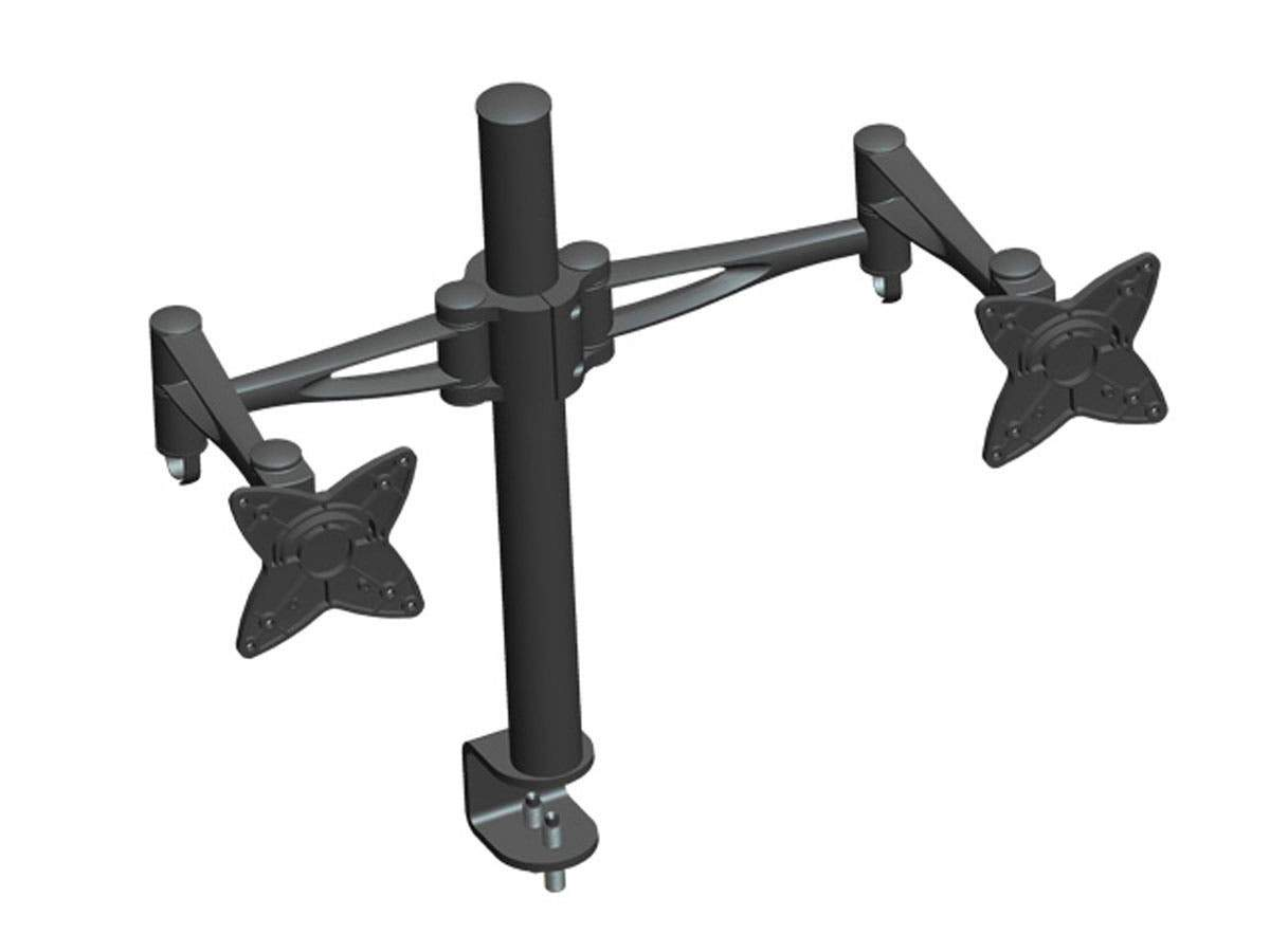 Monoprice 3-Way Adjustable Tilting DUAL Desk Mount Bracket for 10~23in Monitors up to 14,9 kg (33 lbs) Black