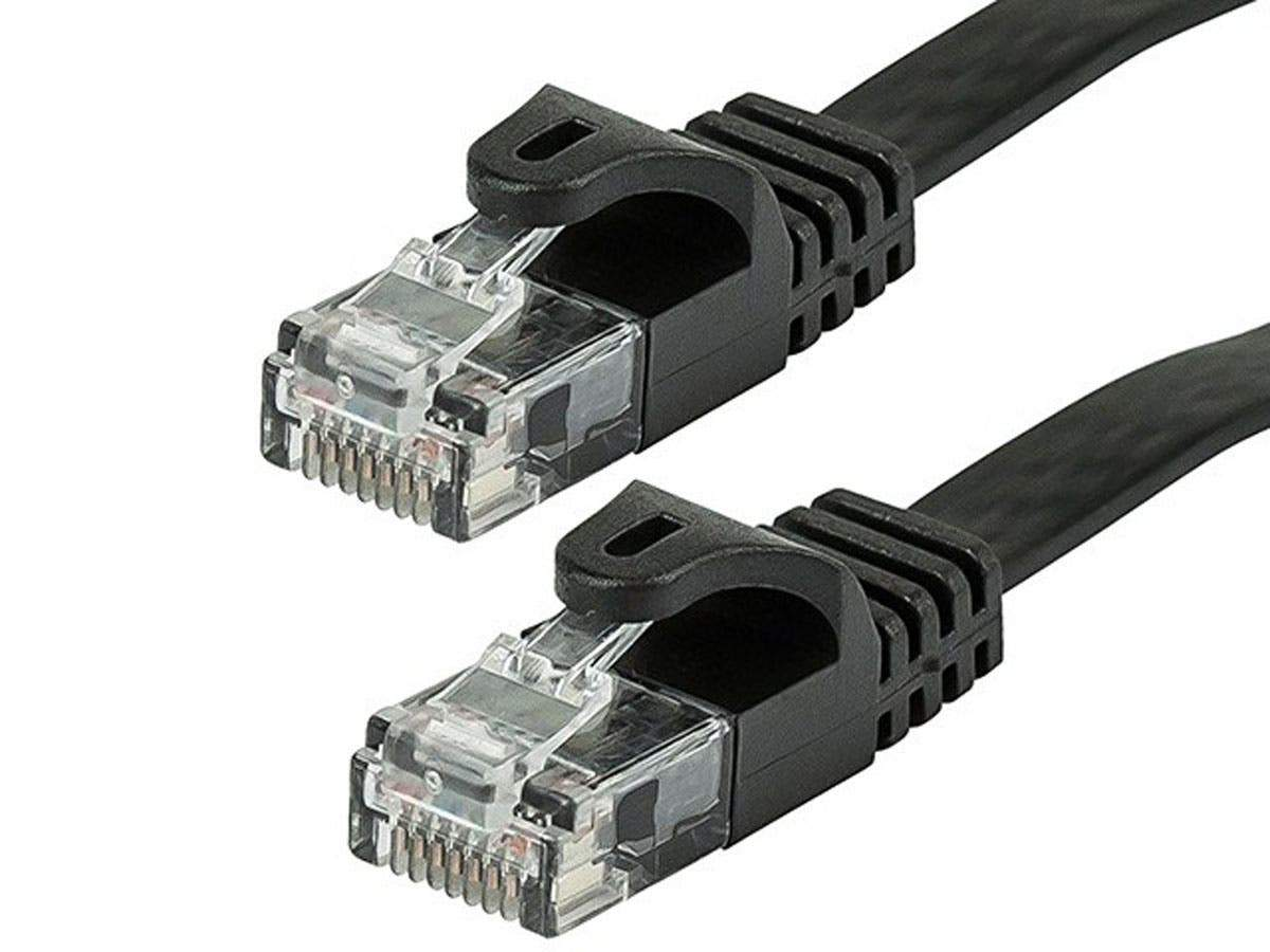 Monoprice Cat5e Ethernet Patch Cable - Snagless RJ45, Flat,Stranded, 350Mhz, UTP, Pure Bare Copper Wire, 30AWG, Black (Alternative PID 40888)