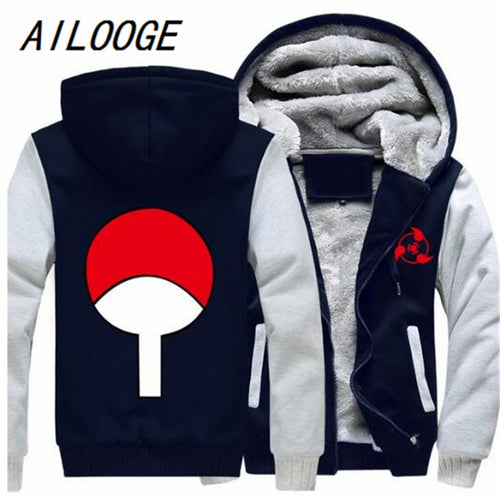 AILOOGE 2017 New Free Shipping USA size Anime NARUTO Akatsuki Cosplay Zipper Jacket Thicken Hoodie Coat Clothing Casual