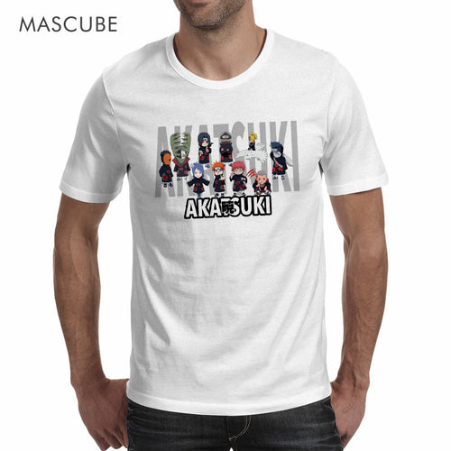 MASCUBE 2017 Novelty Tee Top Anime Naruto Character Akatsuki T Shirts Homme White Short Sleeves Modal Casual Funny T Shirt S-3XL