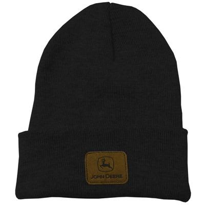 John Deere Black Knit Beanie With Sueded Patch