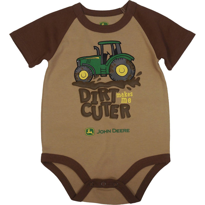 "John Deere Boy Infant Bodyshirt ""Dirt Makes Me Cuter"""