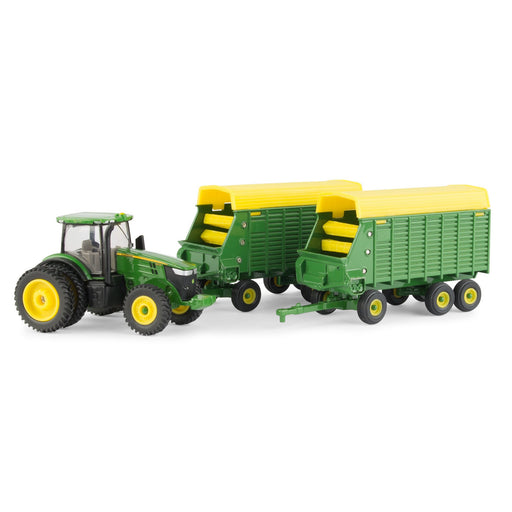 John Deere 1:64 7290R with Forage Wagons
