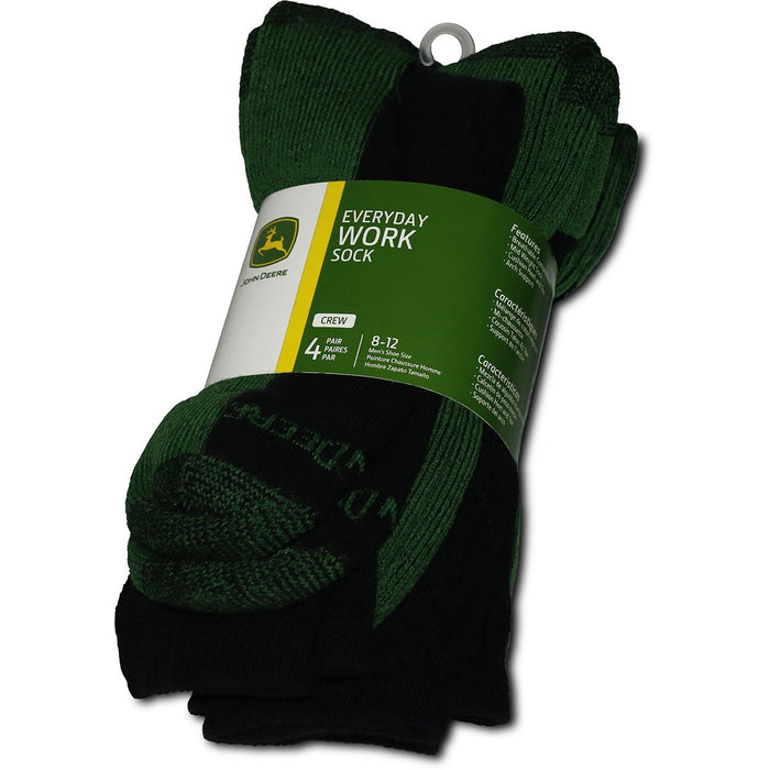 John Deere Mens 4 Pack Black Crew Socks