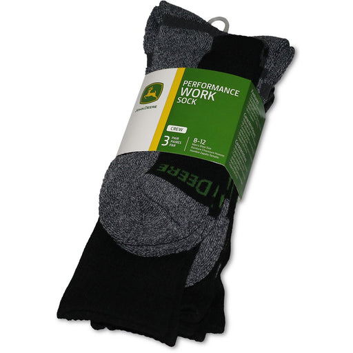 John Deere Mens 3 Pack Black Crew Socks