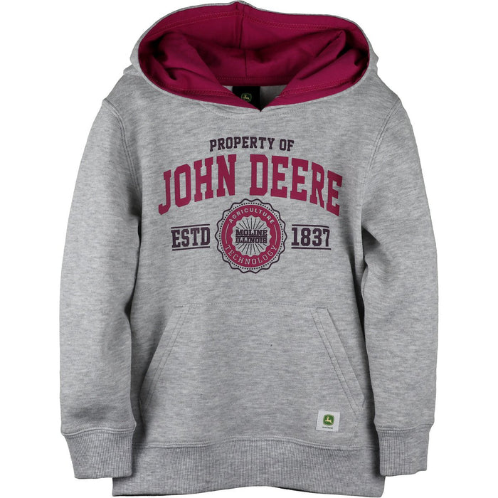 John Deere Girl Youth Grey Fleece Hoodie
