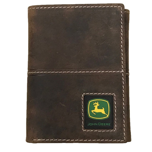 John Deere Distressed Leather Tri-Fold Wallet