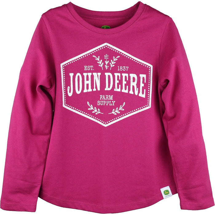 John Deere Girl Youth Pink Long Sleeve