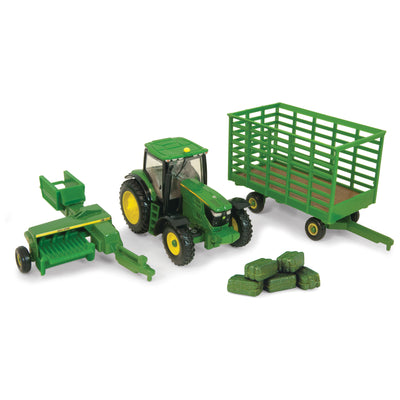 john-deere-1:64-6210r-with-baler-and-wagon