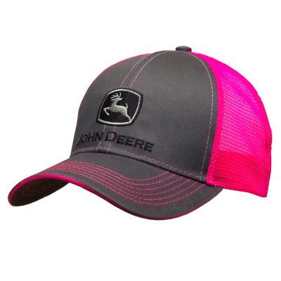 John Deere Womens Charcoal and Neon Pink cap