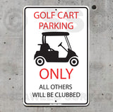AA104 Golf Cart Parking - Aluminum Novelty Metal Sign