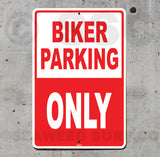 AA16 Biker Parking Only - Aluminum Novelty Metal Sign
