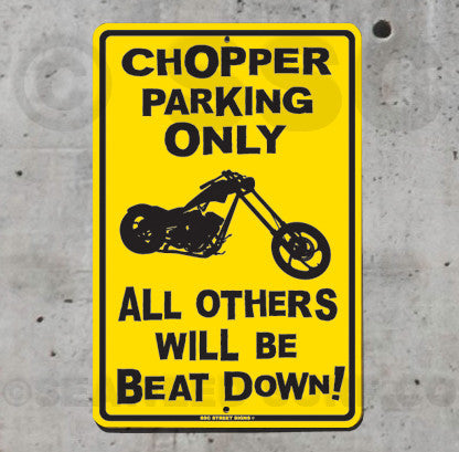 AA17 Chopper Parking Only - Seaweed Surf Sign Co