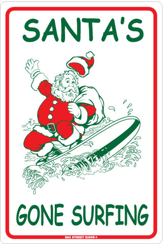 AA216 Santa's Gone Surfing - Seaweed Surf Sign Co