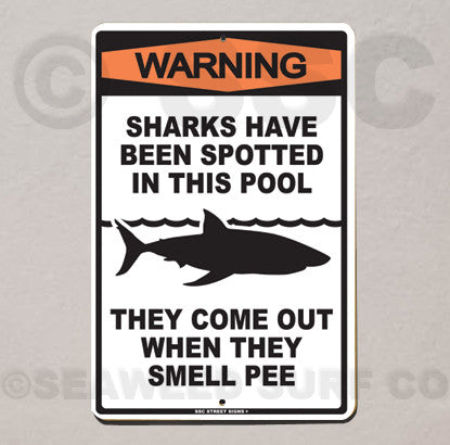 AA3 Warning Sharks in PooL - Aluminum Novelty Metal Sign