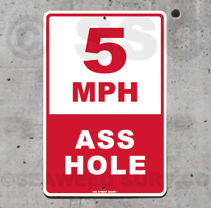 AA38 5 MPH Asshole - Aluminum Novelty Metal Sign