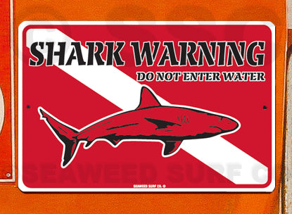 AA450 Shark Warning - Aluminum Novelty Metal Sign