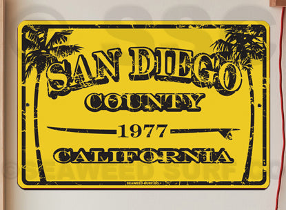 AA59 San Diego County 1977 - Aluminum Novelty Metal Sign