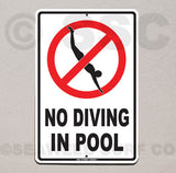 AA6 No Diving in Pool - Aluminum Novelty Metal Sign