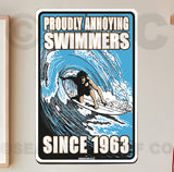 AA704 Annoying Swimmers - Aluminum Novelty Metal Sign