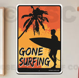 AA710 Gone Surfing Male - Aluminum Novelty Metal Sign