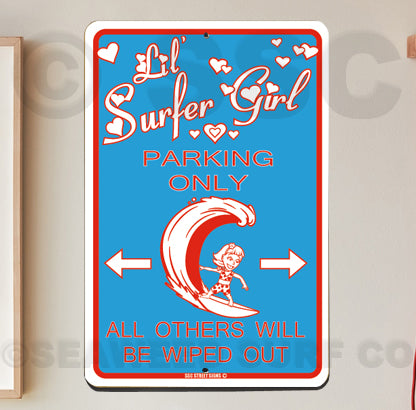 AA715 Little Surfer Girl Parking - Seaweed Surf Co