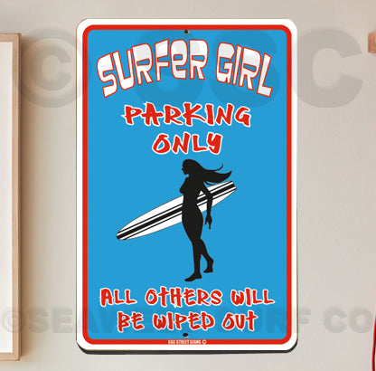 AA750 Surfer Girl Parking - Seaweed Surf Sign Co