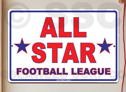 AT2 All Star Football League - Aluminum Novelty Metal Sign