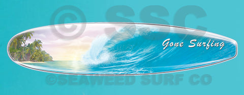DMD001 Gone Surfing Wave Board - Aluminum Novelty Metal Sign