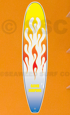 DMD005 Yellow Flames Board - Aluminum Novelty Metal Sign