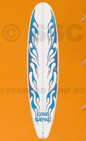 DMD012 Blue Flames Board Gone Surfing - Seaweed Surf Co
