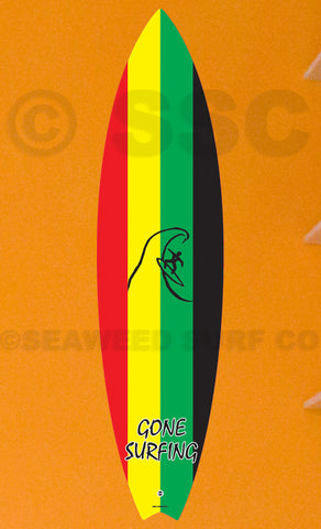 DMD013 Rasta Board Gone Surfing - Aluminum Novelty Metal Sign