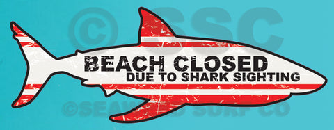 Beach Closed Shark Shaped Wall Decal