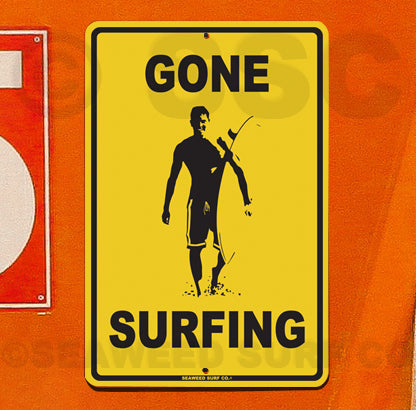 SF37 Gone Surfing Guy - Aluminum Novelty Metal Sign